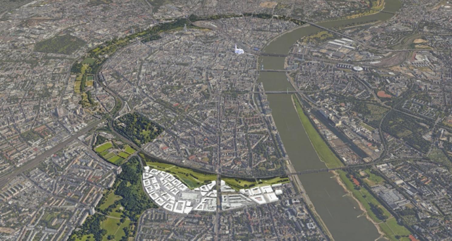 Die Parkstadt Süd wird ein umfangrecher Grüngürtel im Süden des Kölner Stadtzentrums